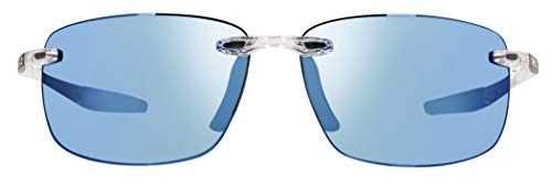 Revo Unisex RE 4059 Descend N Rectangular Polarized UV Protection Sunglasses, Crystal Frame, Blue Water ()