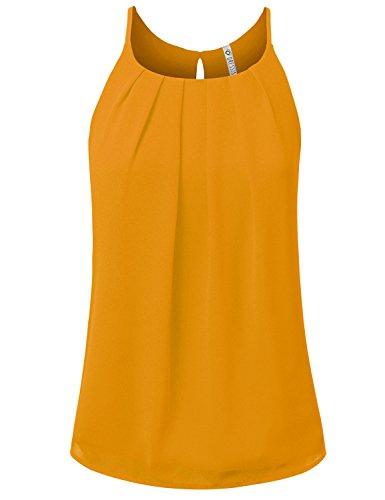 NINEXIS Womens Sleeveless Front Pleated Back Keyhole Chiffon Tank Top Mustard ()