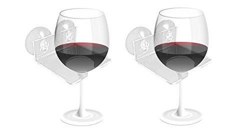 Bathtub & Shower Wine Glass Holder Caddy Couples Gift, Relax Bath with Double Suction Cups, Clear, Set of 2 (Double Wine Holder)