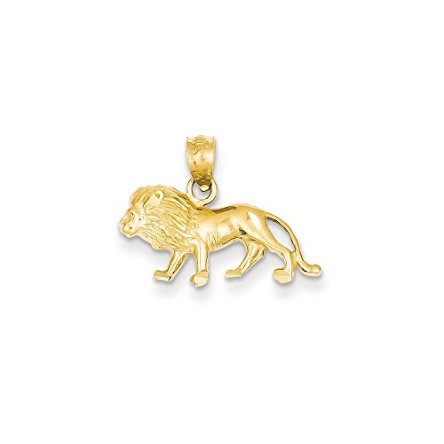 14k Gold Diamond-cut Lion Pendant (0.59 in x 0.79 - Charm Lion Gold 14k