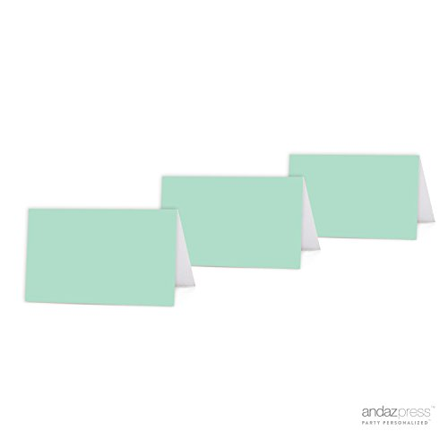 Andaz Press Table Tent Printable Place Cards on Perforated Paper, Blank Mint Green, 20-Pack, Placecards Table Settings for Baby Bridal Wedding Shower, Anniversary Celebration, School Graduation, Outdoor Event, Picnic, Luau, - Cards Christmas Green Party