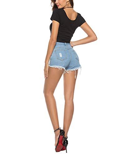 Fit Tempo Chiaro Forti Estivi Corto Jeans Con Taglie Blu Slim Vita Donna Corti Pantaloni Alta Eleganti Strappati Tasca Libero wgn1Uxdvq0