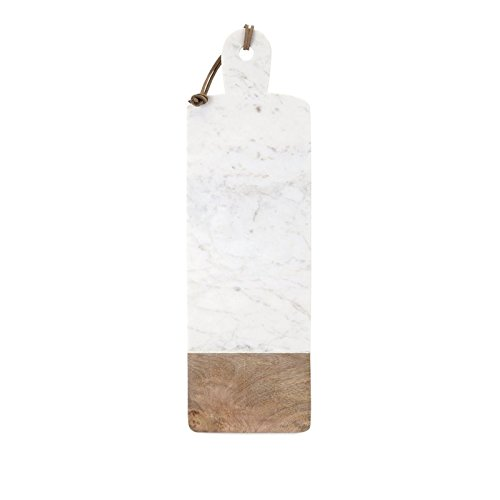 IMAX 82521 Danita Marble and Wood Cheese Board, White ()