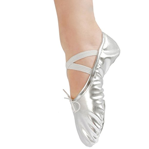 Shoes Girl Pointe Gymnastics Ballet Women Silver Leather Dance RqPYYwA
