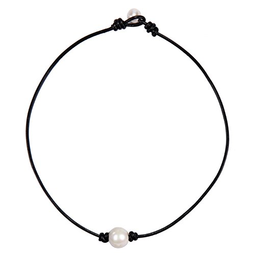 Choker Color (Barch Single Pearl Choker Necklace on Genuine Black Leather Cord for Women Handmade Choker Jewelry Gift (15