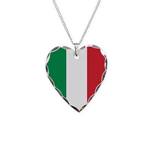 CafePress - Italian Flag Necklace - Charm Necklace with Heart Pendant