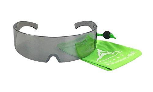 Silver Mirror Robo Cop Robot Novelty Shield - Glasses Sun Cop
