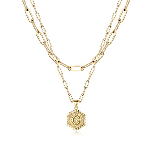 Gold Layering Initial Necklaces for Women, 14K Gold