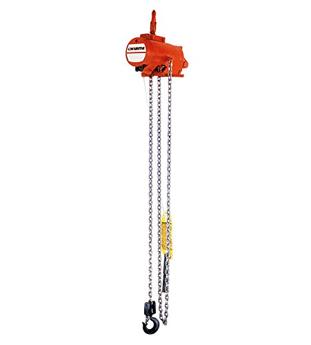 CM 7402B AirStar Roller Chain Air Hoist with Pendant Throttle Control and Hook Suspension, 2000 lbs Capacity, 10' Lift Height, 23 fpm Lift Speed, 48 SCFM, 90 (10 Fpm Lift)