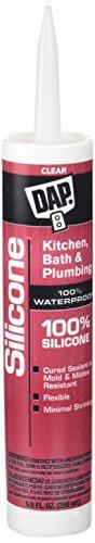 Dap 08648 10.1 oz. 100% Silicone Kitchen and Bath Sealant, Clear (Rubber Purpose All Silicone)