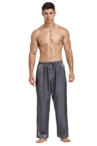 (Lavenderi Mens Satin Pajama Pants, Long Pj Bottoms (XX-Large, Grey))