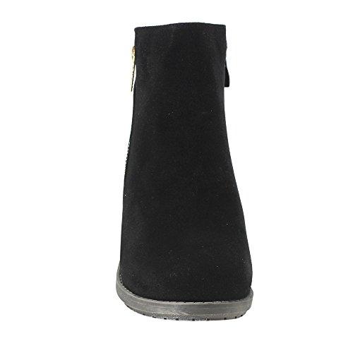 Beston DE02 Womens Stacked Heel Side Zipper Plain Daily Wear Ankle Booties Ankle Bootie