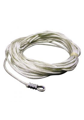 Nylon Rope with Wire Center Assembly- 50' Length of Rope, White