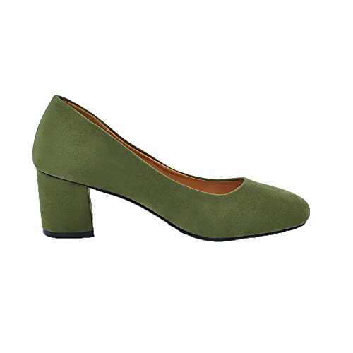 Pull Shoes Frosted Pumps Round Women's WeenFashion Toe On Solid Kitten Heels Green Closed TnqZqxPUw