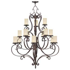 Livex Lighting 5497-58 Millburn Manor - Fifteen Light 3-Tier Chandelier, Imperial Bronze Finish with Vintage Scavo Hwith Blown Glass