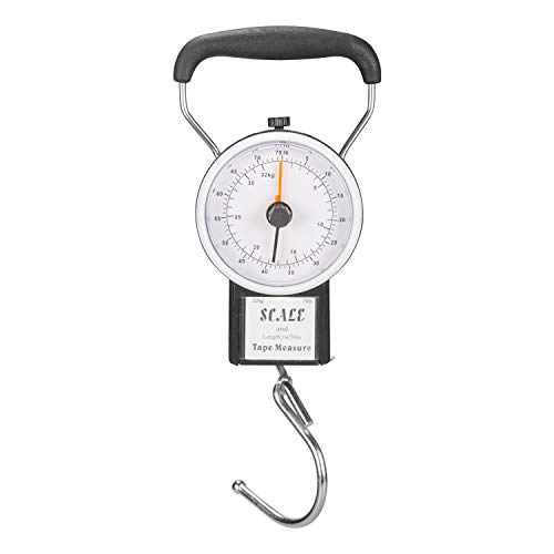 - Manual Luggage Scale w/Built-in Tape Measure Weighs Bags-To 75lbs.- Measures Bag Up To 39