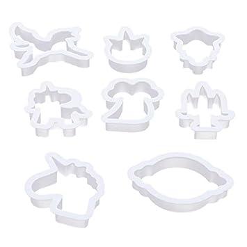 1 juego de 8 moldes cortadores de galletas, diseño de caballo de unicornio para decoración de pasteles, galletas, repostería y repostería QW992843: ...
