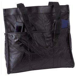 Crinkle Leather Tote - Embassy Italian Stone Design Genuine Leather Shopping/Travel Bag - Black