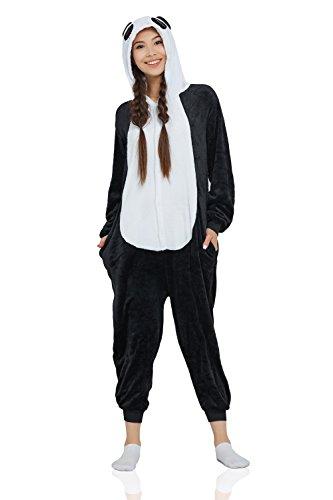 Nothing But Love Adult Panda Kigurumi Animal Onesie Pajamas Plush Onsie One Piece Cosplay Costume (Small, Black and White)