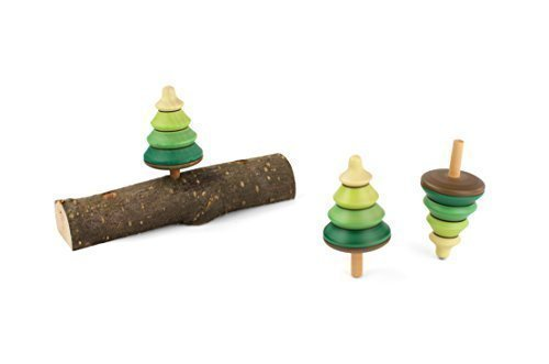 Playable ART Spinning Tree Tops - Set of 3 on a real tree branch ()