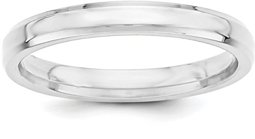 Band Satin Silver Ring Sterling (Sterling Silver 3mm Plain Beveled Edge Classic Comfort-fit Wedding Band - Size 5.5)