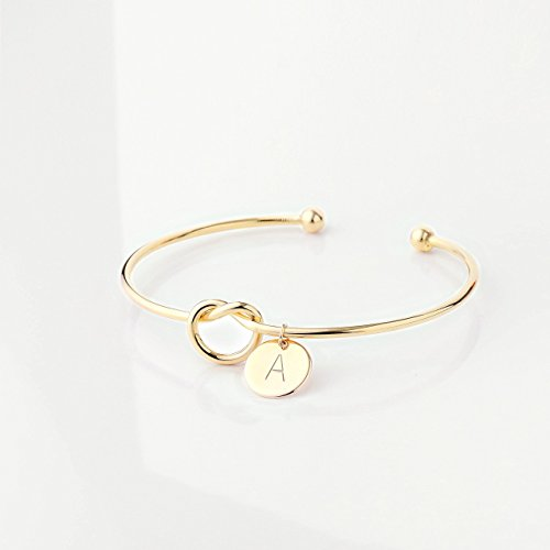 18k Knot Bracelet (Gold Tie the Knot Bracelet Bridesmaid Proposal Gift sorority gift Initial Cuff Bracelet best selling items Bridesmaid Proposal Box - KBR (A))