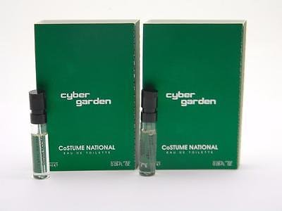 2 x Costume National Cyber Garden Vial Sample EDT 1,5ml 0.05 fl oz New With Card - 0.05 Ounce Edt