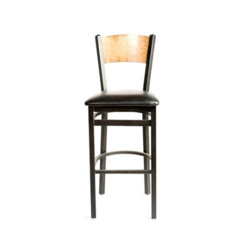 Oak Street SL2150-1-P-N-ESP  Metal Frame Plain Natural Wood Back Bar Stool with Espresso Vinyl Seat, 45