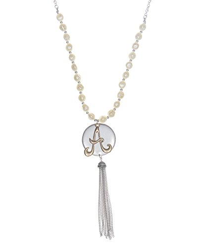 Jewelry Nexus A Monogram Two-Tone Medallion Necklace with Imitation Pearls & Dangling Tassle (Necklace Jewelry Monogram)
