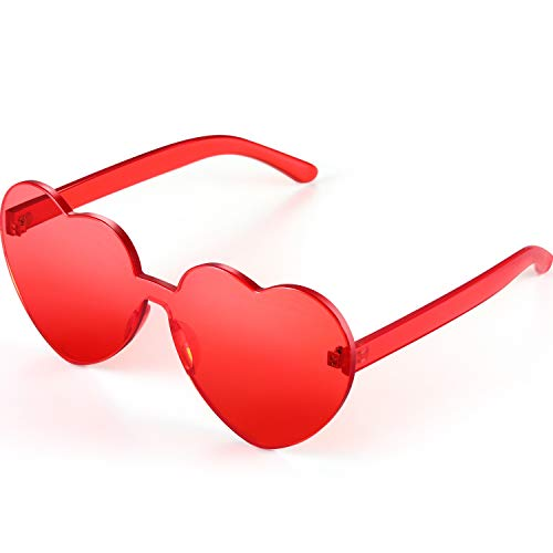 Medium Red Heart - Maxdot Heart Shape Sunglasses Party Sunglasses (Transparent Red)