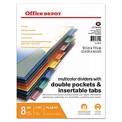 Office Depot(R) Brand Double-Pocket Insertable Plastic Divider, 8-Tab, 9 1/2in. x 11 1/4in, Assorted Colors ()