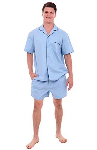 Summer Pajamas Shorts (Alexander Del Rossa Mens Cotton Pajamas, Short Button-Down Woven Pj Set, XL Light Blue (A0697LBLXL))