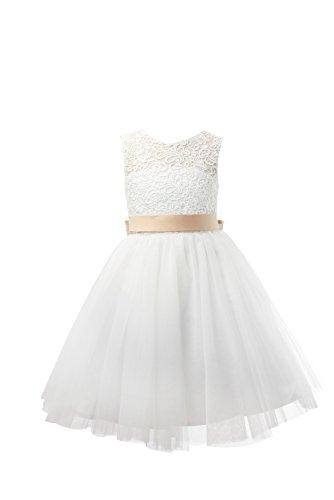 - Miama Ivory Lace Tulle Keyhole Back Wedding Flower Girl Dress Junior Bridesmaid Dress