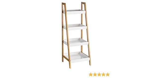 Estantería con 4 baldas de bambú nórdica Blanca de 35x34x98 cm - LOLAhome: Amazon.es: Hogar