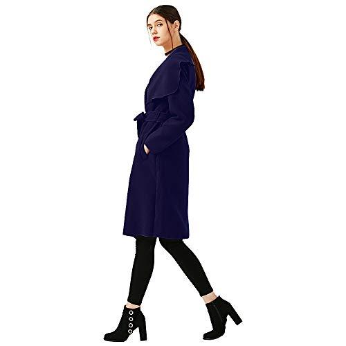 Hoodie Mode Blouse Hiver Bleu Capuche À Mélange Blouson Ceinture Veste Tops Pullover Large De Manteau Femme Shobdw Laine Revers Poche Sweatshirt fxqFgg