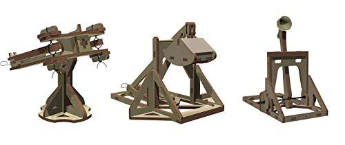 Abong Wooden Mini Medieval Desktop Warfare Model Kits to Build – Catapult, Trebuchet, and Ballista – Includes All 3 Models - STEM Model Kits from Abong