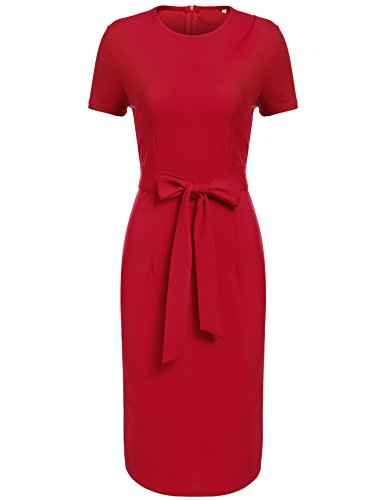SE MIU Women Short Sleeve Round Neck Sheath Cocktail Dress, Red, S - Womens Cocktail Red Dresses