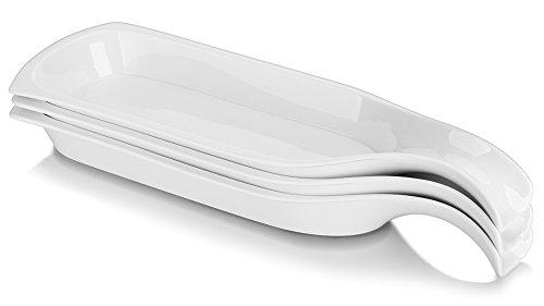 Lifver 15-Inch/3-Pack Porcelain Baking Dishes/Loaf pan/Serving plates, white