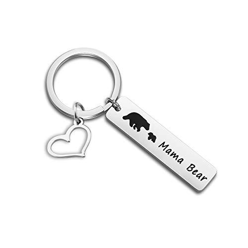 BAUNA Mama Bear Keychain Bear Family Keychain with Cubs Bear Jewelry for Mother Wife Grandma (1 cub)