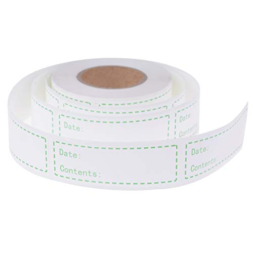 500 Pieces Removable Food Storage Labels Freezer Labels 1x3in Food Storage Stickers Refrigerator Freezer Labels Adhesive Paper Labels(1 Roll,Green) (Food Container Labels)