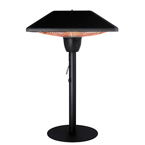 Star Patio Electric Patio Heater, Infrared Heaters, Tabletop Heater, Electric Outdoor Heaters, Portable Heater, Outdoor Space Heater, Classic Sandy Black, 1500W, STP1566-DT