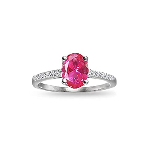 Sterling Silver Created Pink Sapphire and White Topaz Oval Crown Ring, Size 10 - Oval Created Sapphire Solitaire Ring