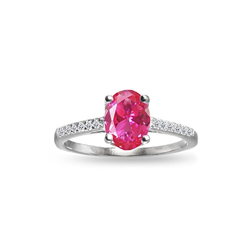 Pink Star Sapphire Ring - Sterling Silver Created Pink Sapphire and White Topaz Oval Crown Ring, Size 6