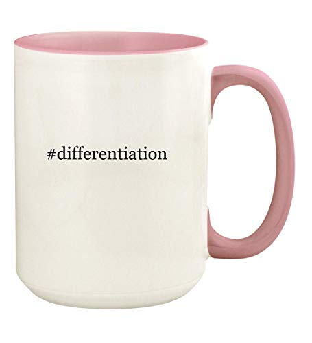 #differentiation - 15oz Hashtag Ceramic Colored Handle and Inside Coffee Mug Cup, Pink