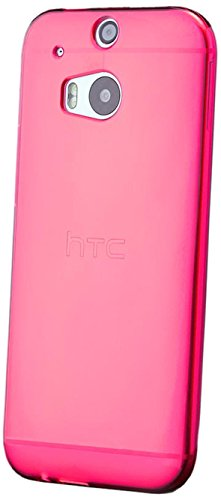 iCues | Compatible with HTC One M8 | Transparent TPU Case Pink | [Screen Protector Included] Clear Rubber Cover crystal transparent silicone shell TPU minimalist