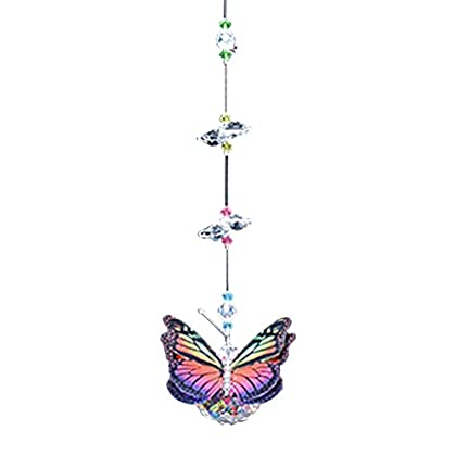 Butterfly Rainbow Monarch Figurine with 30mm Crystal Ball Bead – Rainbow Maker – Crystal...