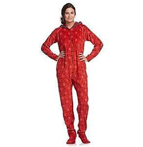 Cuddl Duds Sleepwear Hoodie-Footie -Red Fleece Womens Size Medium