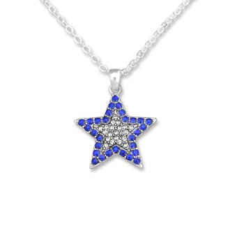 FTH BLUE & CLEAR Crystal Rhinestone Star Necklace on 18 inch Silver Metal Chain.Celebrate the Dallas ()