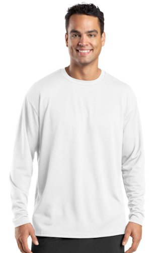 Sport-Tek Men's Dri Mesh Long Sleeve T Shirt XL White