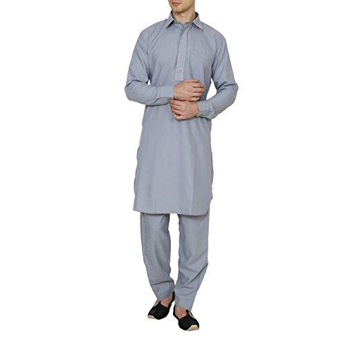 Wondercraft Traditional Wear Pathani Suit Indian Mens Kurta Pajama Solid Diwali Poly Cotton by Wondercraft